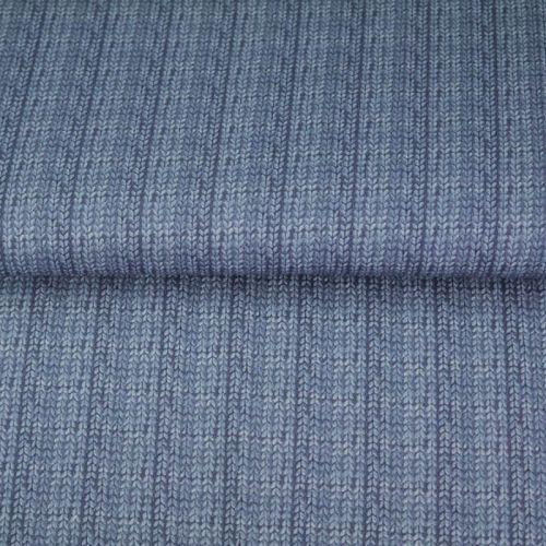Tissu French terry effet tricot bleu