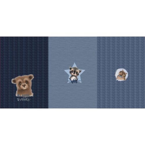 Panneau triple French terry all goods ours bleu 75cmx150cm