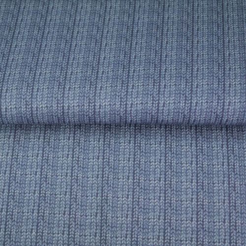 Tissu French terry effet tricot bleu