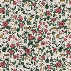 Tissu toile fleuri fond beige