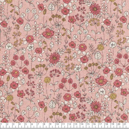 Tissu toile fleuri fond rose