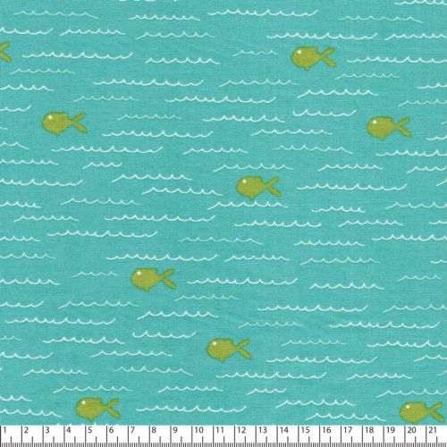 Tissu coton splash ! fond vert
