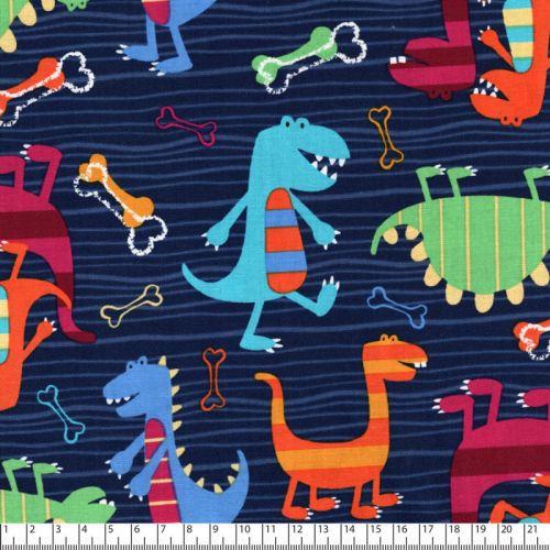 Tissu coton imprimé dinosaures rayés fond navy