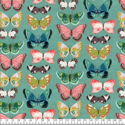 Tissu coton imprimé papillons fond vert