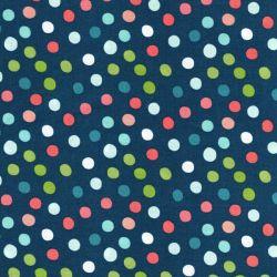 Tissu coton imprimé pois multicolores fond bleu