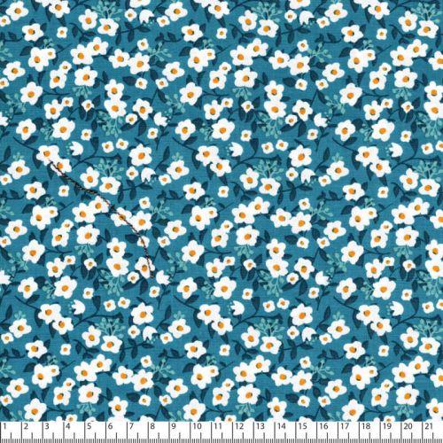 Tissu coton imprimé fleurs blanches fond bleu