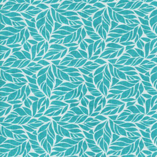 Tissu coton imprimé feuilles vertes fond bleu