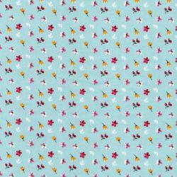Tissu coton imprimé fleuri fond bleu