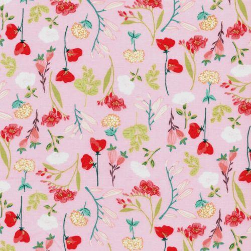 Tissu coton le beau fleuri rose