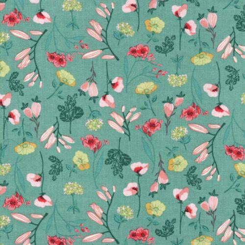 Tissu coton le beau fleuri vert