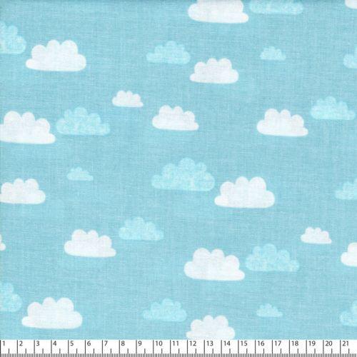Tissu summer clouds bleu 100% coton larg 110 cm