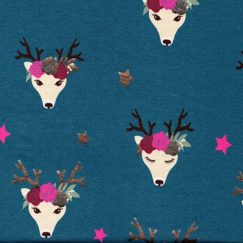 Tissu jersey cerfs fleuris foil fond bleu canard