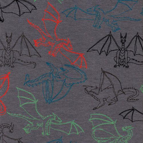 Tissu sweat fin dragons fd gris 95%cot/5%el larg 145 cm