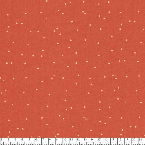 Tissu pois clair fd orange 100%coton larg 110 cm