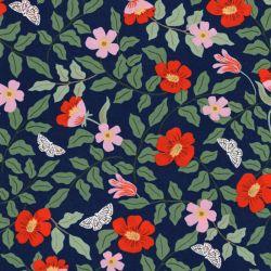 Tissu strawberry fields fond bleu Rifle Paper Co