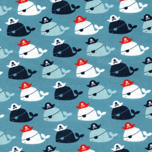 Tissu baleines pirates 100% coton larg 110 cm