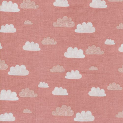 Tissu summer clouds rose 100% coton larg 110 cm