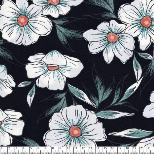 Tissu grandes fleurs blanches fd noir 100% coton larg 110 cm