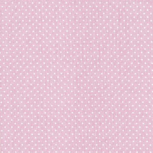 Tissu rose pois blanc 3mm 100%coton larg150 cm