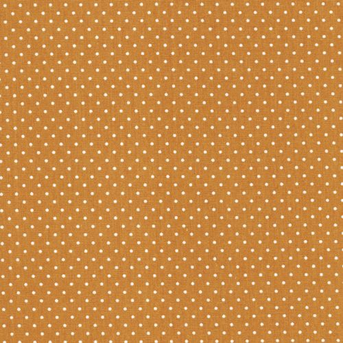 Tissu jaune pois blanc 3mm 100%coton larg150 cm