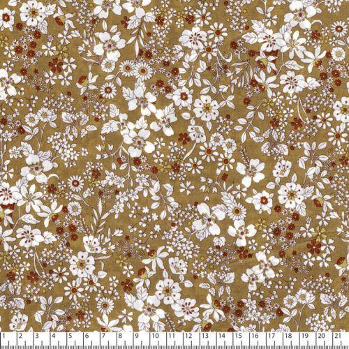 Tissu coton fleuris fond beige Kokka