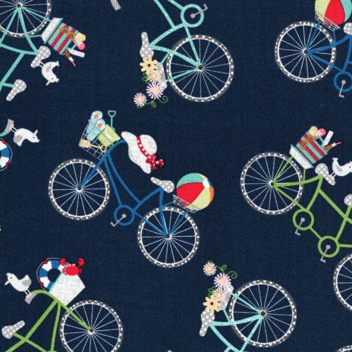 Tissu coton vélos champêtres fond bleu