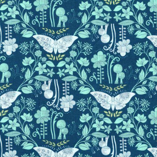 Tissu coton Day dreaming papillons fond bleu  Michael Miller