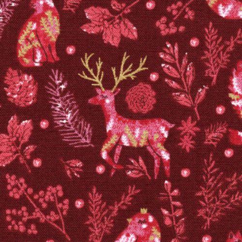 Tissu coton winter dreams fond bordeaux