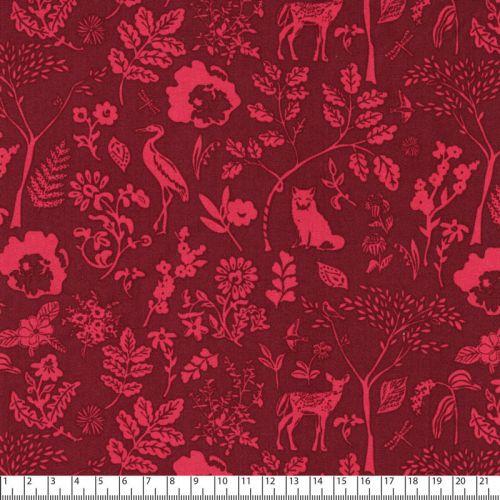 Tissu coton Foret rose fond bordeaux