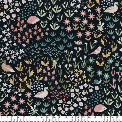 Tissu canards et fées 100% coton larg 110 cm