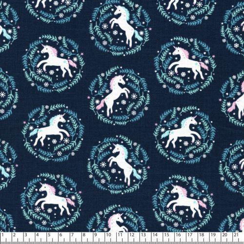 Tissu licornes en médaillon fd bleu 100% coton larg 110 cm