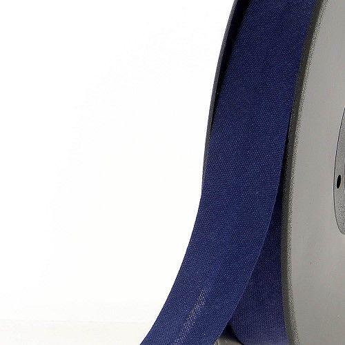 Biais replié 20 mm 50 % coton/50 % poly bleu