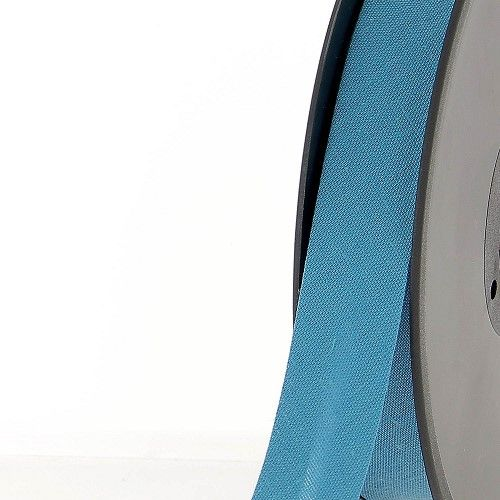 Biais replié 20 mm bleu canard 50 %coton/50 %poly