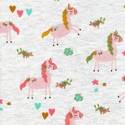 Tissu Unicorn party Poppy fond beige chiné et glitter