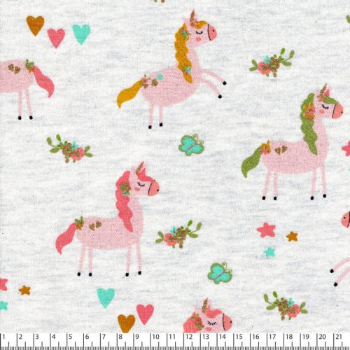 Tissu Unicorn party Poppy fond beige chiné et glitter