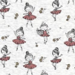 Tissu sweat danseuses rose glitter fond beige dos minky