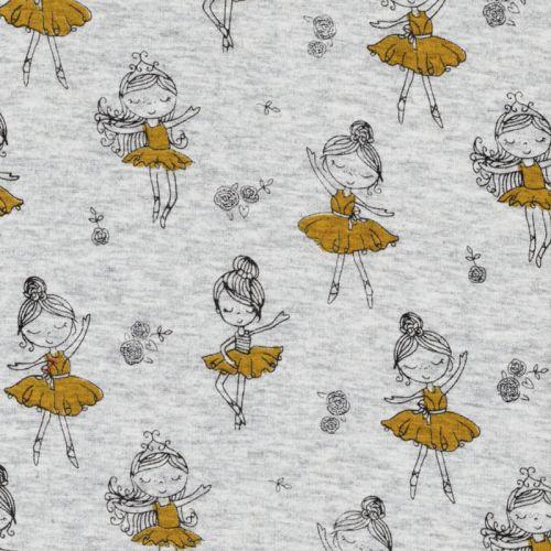 Tissu sweat danseuses jaune glitter fond gris dos minky