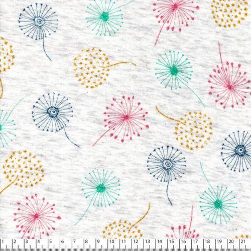Tissu sweat fleurs de pissenlit fond beige dos minky