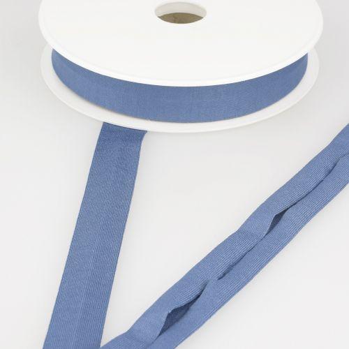 Biais jersey bleu jean 92%vi/8%el 20 mm