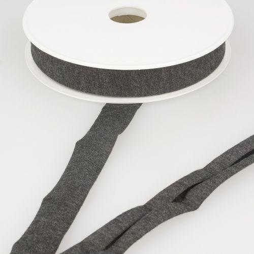 Biais jersey gris chiné foncé 92%vi/8%el 20 mm