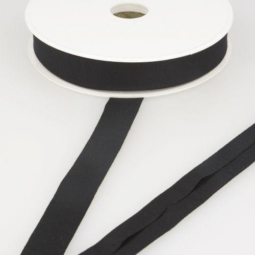 Biais jersey noir 92%vi/8%el 20 mm