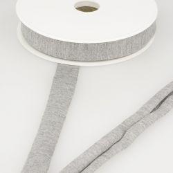 Biais jersey gris chiné clair 92%vi/8%el 20 mm