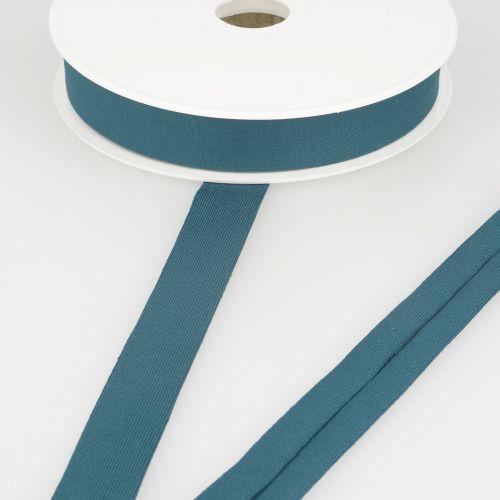 Biais jersey bleu pétrole 92%vi/8%el 20 mm
