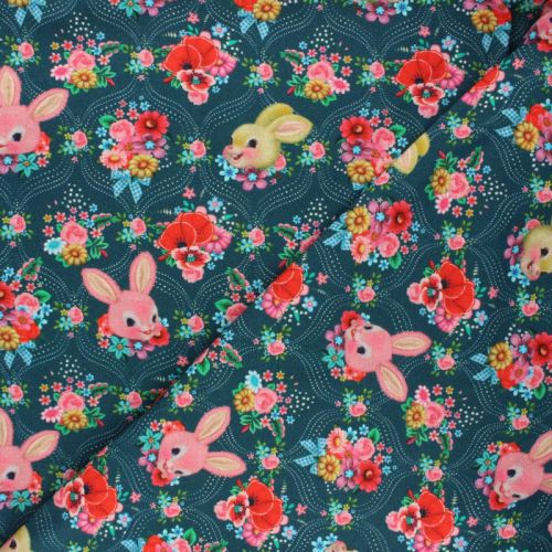 Tissu jersey Happy Bunny bleu Fiona Hewitt