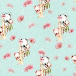 Tissu jersey Koalas digital fond vert Poppy