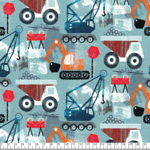 Tissu jersey Heavy loaders bleu Poppy