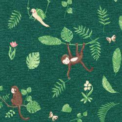 Tissu jersey Swinging Monkeys digital fond vert Poppy