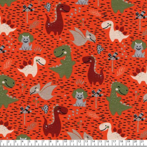 Tissu jersey dinosaures fond orange