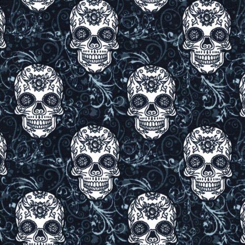 Tissu jersey Skulls fond bleu marine Poppy