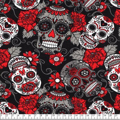 Tissu Jersey skulls fond noir